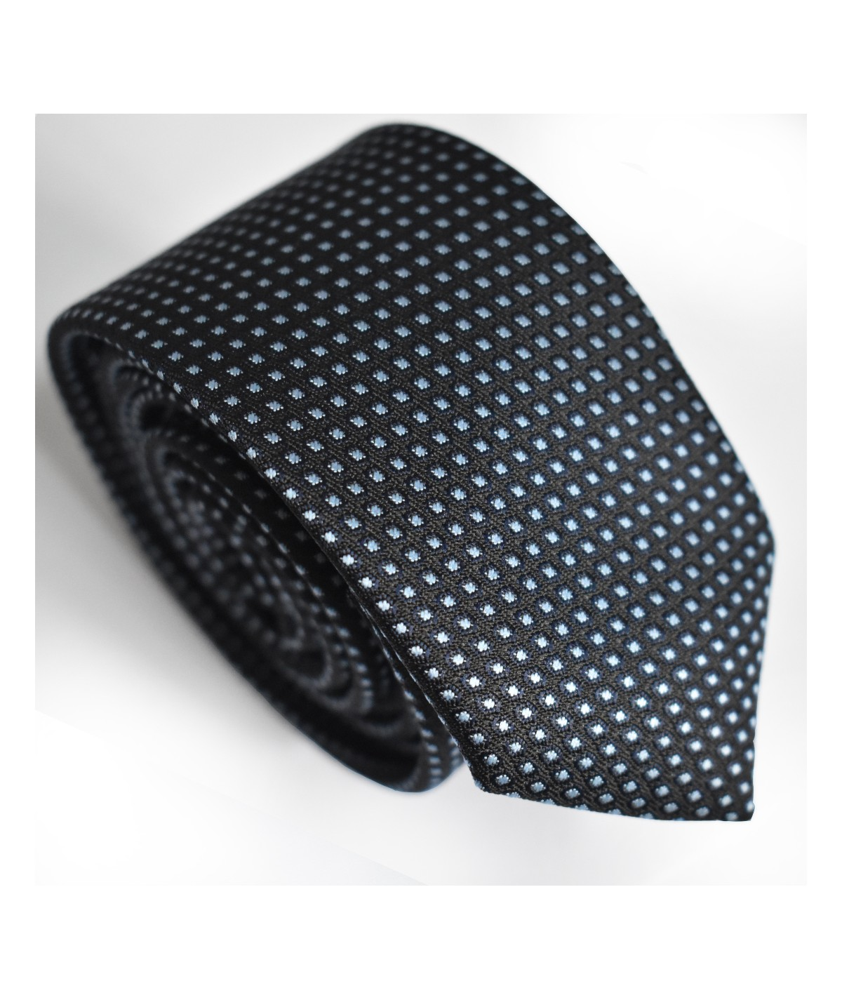 Cravate Noire à pois bleu